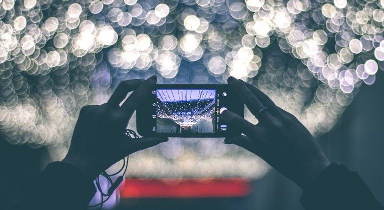 Smart phone photographing lights at night