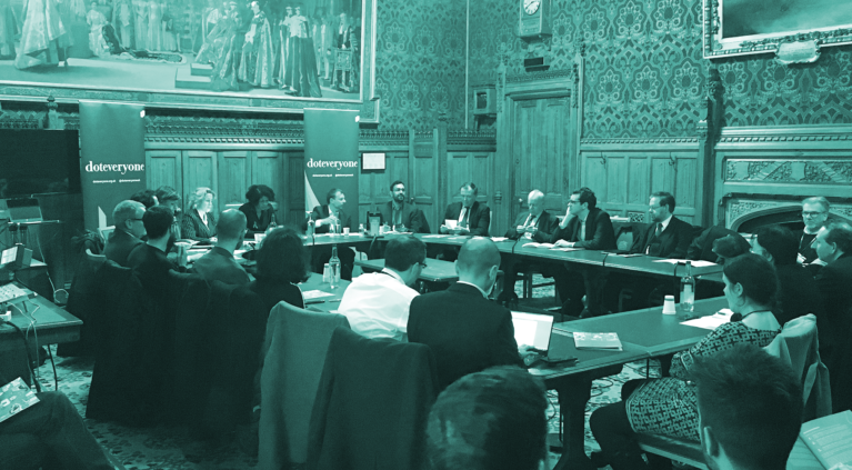 Martha Lane Fox, Chi Onwurah MP, Stefan Hunt, Azeem Azhar and Damian Collins MP spoke at Doteveryone's event